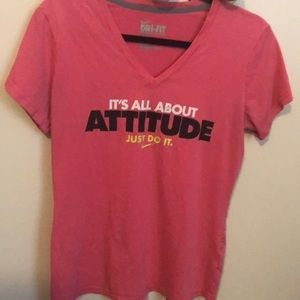 Nike Dri-Fit pink v-neck tee
